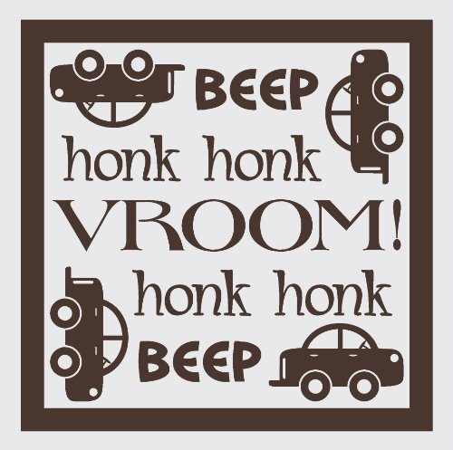 Wall Décor Plus More WDPM1461 Beep Honk Vroom Wall Vinyl Sticker with Car Decal, 23 W  x  23 H, Chocolate Brown ()