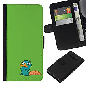 Planetar® Modelo colorido cuero carpeta tirón caso cubierta piel Holster Funda protección Para Samsung Galaxy A3 / SM-A300 ( Beaver Green Cute Drawing Character Kids )
