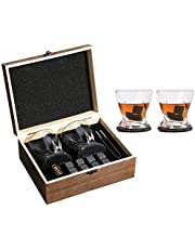 Whiskey Glasses Gift Set – 8 Whiskey Stones+2 Twist Whiskey Glasses+2 Slate Drink Coaster for Whiskys, Scotch, Bourbons and Spirits, Father's Day Gift, Birthday/Christmas/Present for Men/Women