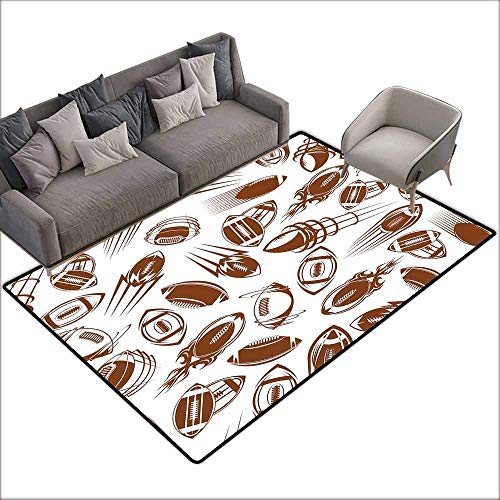 Print Floor Mats Bedroom Carpet Football,Retro Comicbook Style Flying Spinning Balls with Motion Trails Sports Competition,Brown White 36