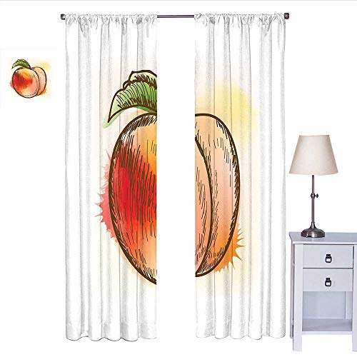 MartinDecor Peach Window Curtain 2 Panel Fresh Fruit Full of Vitamins and Nutrition Food Sketch Color Splatters Curtain Living Room Scarlet Pale Orange Green W72 x ()