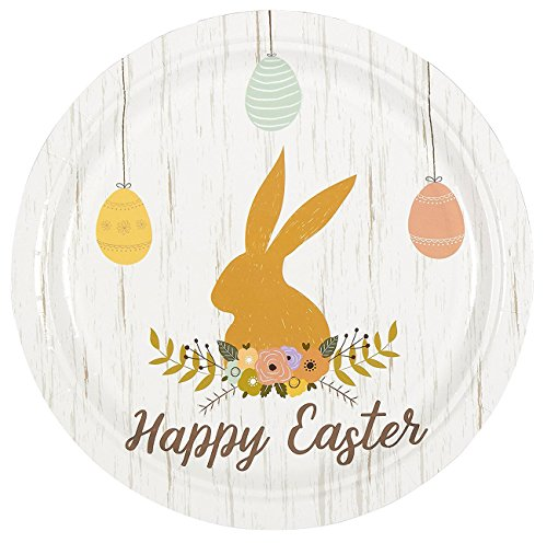 Disposable Plates Set - 80-Pack Easter Party Supplies - Easter Bunny Design, Children Party Supplies - Paper Party Supplies - 9 x 9 x 3 Inches - Easter Bunny Paper