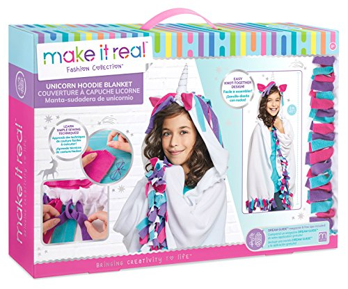 Magic Bounce Ball - Make It Real - Unicorn Hoodie Blanket. Wearable Unicorn Hooded Blanket Arts and Crafts Kit for Girls. DIY Kit Guides Tweens to Create Their Own Unicorn Hoodie Fleece Knotted Blanket
