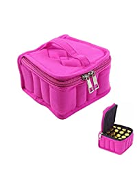 Aolvo 16-Bottle Essential Oil Carrying Case Oil Cases for Essential Oils Sturdy Zippers - Holds 5ml, 10ml, 15ml and Roll-Ons Bottles, Zipper