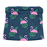Dragon Sword Tropical Pink Flamingos And Green Palm Leaves Gift Bags Jewelry Drawstring Pouches for Wedding Party, 6x8 Inch
