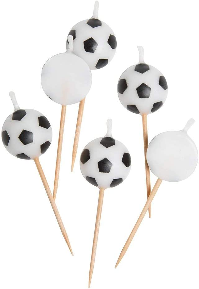 Soccer Ball Pick Birthday Candles, 6ct