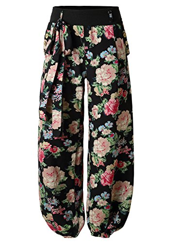 BAISHENGGT Women's Button Deco Elastic Cuff Belted Harem Pants Large Black-Floral