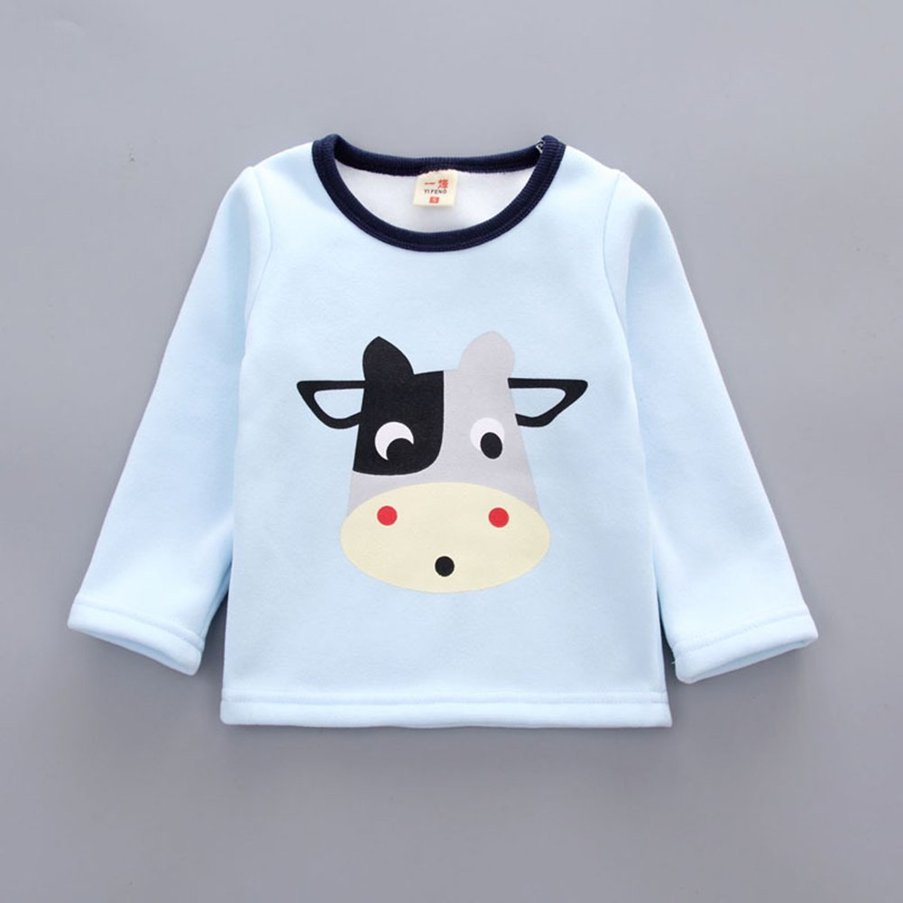 Hibote 2 Pezzi Neonati Baby Pile Cotton Pigiama Inverno Warm Long Sleeve Sleepwear per 0-4 Anni Bambini
