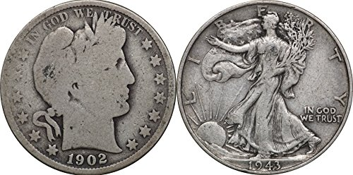1892-1947 Silver Half Dollars, Barber & Walking Liberty 50c, 1 Face