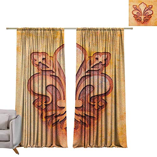 "Pocket Thermal Insulated Tie Up Curtains Fleur De Lis,Lily Flower Symbol on Plate Floral Design Royal Arms France Sign Cultural Print, Orange W96"" x L84"" Shades Window Treatment Valances Curtains"