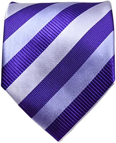 Paul Malone Necktie, Pocket Square and Cufflinks 100% Silk Silver Purple