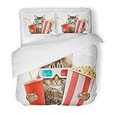 SanChic Duvet Cover Set Red Funny Cat Watching Movie Animal Popcorn Cinema Glasses Hollywood Decorative Bedding Set 2 Pillow Shams King Size