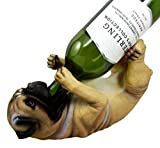 Atlantic Collectibles Adorable Canine Pug Dog 10.75'' Tall Wine Bottle Holder Caddy Figurine