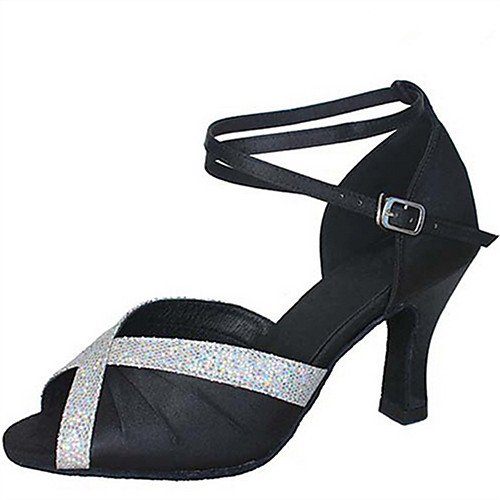 T.T-Q Frauen Tanzschuhe Satin Heel Anfauml;nger Professionelle Dark Red Latin Sandalen Salsa Jazz Tango Swing Praxis Indoor Performance  36|Dunkelrot