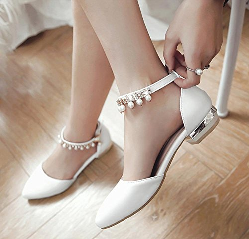 sandalias de verano sandalias femeninas de cuentas de cabecera boca baja con los zapatos planos blanco
