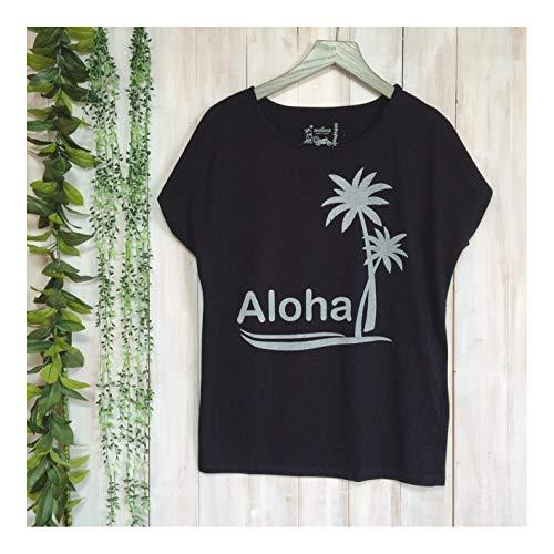 明らかにするもっと少なくシンプトンウェリナ welina アロハ柄 Tシャツ ドルマン袖 M L サイズ プリント ハワイ hawaii ハワイアン レディース