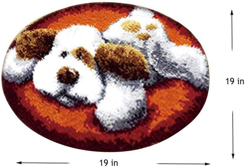 Latch Hook Kit DIY Rug Making Crafts Cute Dog with Preprinted Pattern and Instructions,19X19 inch