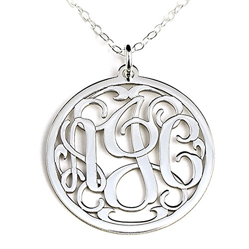 Personalized Round Monogram Sterling Silver Pendant Necklace Customized with Initials of Your Choice]()