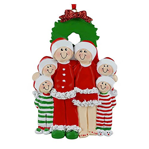 Personalized Christmas Eve Family of 6 Ornament for Tree 2018 - Cuties in Red Santa PJs in Green Pajamas with Wreath - Kid Holiday Activity Cozy Hat Tradition - Free Customization by Elves (Six)