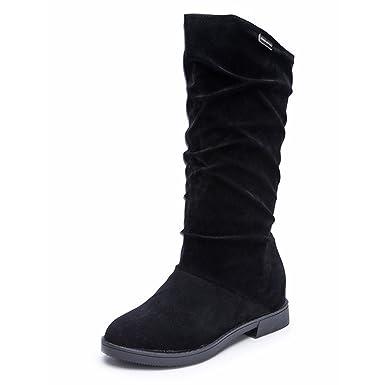 7f6960ea220 Amazon.com  Pocciol Women Lady Mid-Calf Low Heel Boots