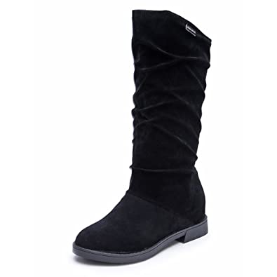 b8d6feca953 Knee Thigh High Boots Women Ladies Winter Suede Fur Lace Up Chukka ...