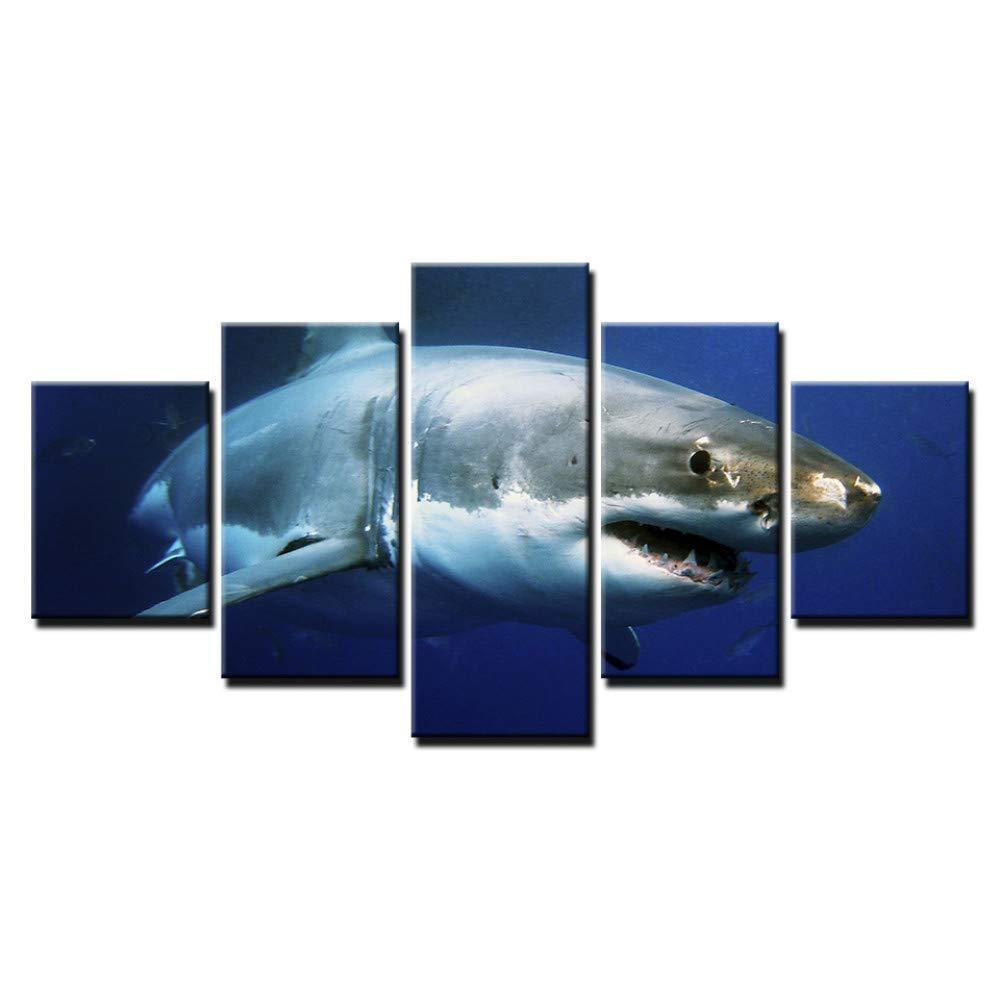 DYDONGWL Decoración para el hogar hogar hogar Impresiones en Lienzo Imágenes Arte de la Pared 5 Piezas Azul Océano Blanco Tiburón Pinturas de Animales Salón Animales Pósteres Marco 8a773a