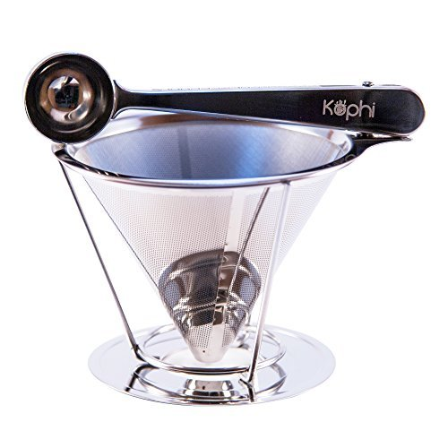 Drip Coffee Maker - Stainless Steel Reusable Coffee Filter with Stand and Clamp Spoon - Single Cup Coffee Maker by Kophi