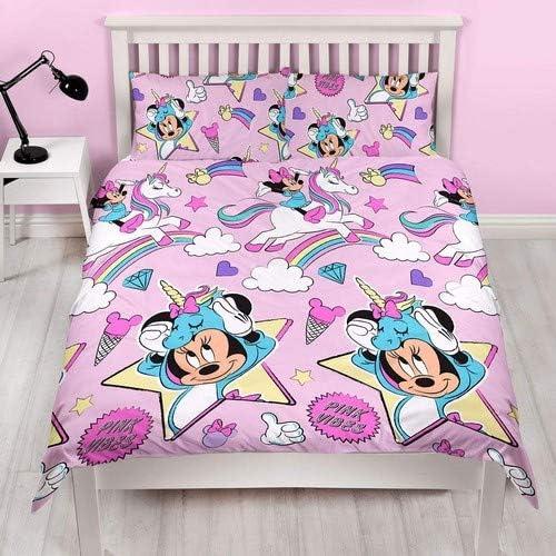 Disney Minnie Mouse 4 IN 1 Set Letto Piumone Copripiumino e Federa Cuscino