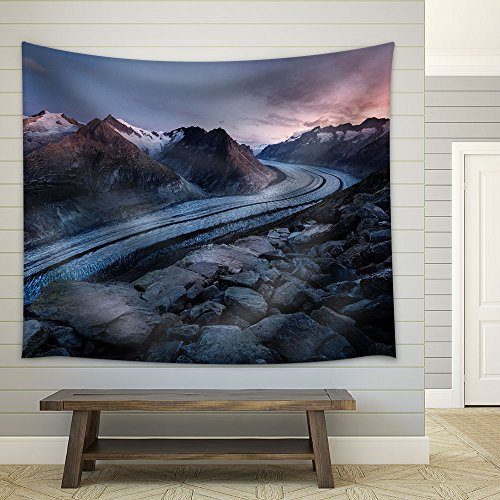 Winter Landscape Curve Road Through Mountain Area Fabric Wall