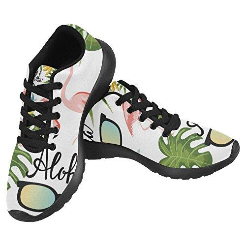 Interestprint Femmes Jogging Running Sneaker Léger Aller Facile À Pied Casual Confort Sportif Chaussures De Course Rose Flamant, Ananas Et Lunettes De Soleil Multi 1