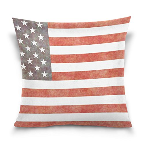 Jere Flag American Wall Pillow Cover 16inch x 16inch Square Cotton Bed Pillow Covers with Zipper