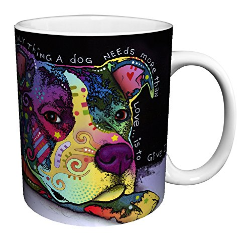 Dean Russo Dog Love Quote Modern Animal Art Porcelain Gift Coffee (Tea, Cocoa) 11 Oz. Mug