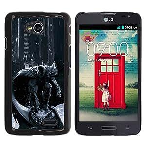ZONECELL Negro Borde Trasera Funda Imagen Carcasa Diseño Tapa Cover Skin Case para LG Optimus L70 / LS620 / D325 / MS323 - pc juego de caracteres consola gris negro