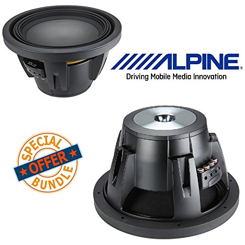 (2) Alpine Type R 12 Inch 2250 Watt Max 4 Ohm Round Car Audio Subwoofer