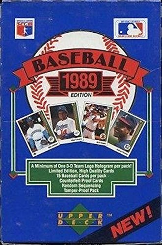 1989 Upper Deck Baseball Cards Box (36 packs/box, Possible Rookie Cards of Ken Griffey Jr, Randy Johnson, Gary Sheffield, John Smoltz, & ()