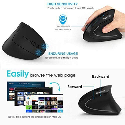2.4G Small Wireless Vertical Optical Mice with 3 Adjustable DPI Levels for Laptop Desktop Computer Notebook Wireless Rechargeable Ergonomic Mouse PC