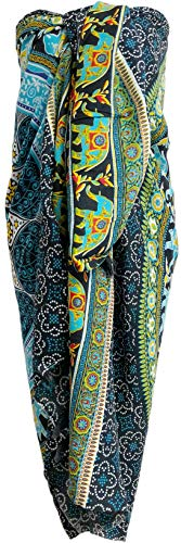 (Mandala Sarong Wraps From Bali Beach Cover Up (Elephant Turquoise))