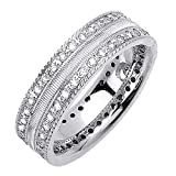 0.72ct TDW White Diamonds 14K White Gold Love Knot Men's Wedding Band (G-H, SI1-SI2) (7mm) Size-9.5c2