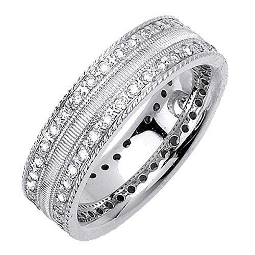 Diamond Love Knot Eternity Ring (0.72ct TDW White Diamonds 14K White Gold Love Knot Men's Wedding Band (G-H, SI1-SI2) (7mm) Size-9.5c2)