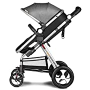Besrey Newborn Baby Stroller for Infant Folding Convertible Baby Carriage Luxury High View Anti-shock Infant Pram Stroller with Cup Holder durable Wheels (Grey)