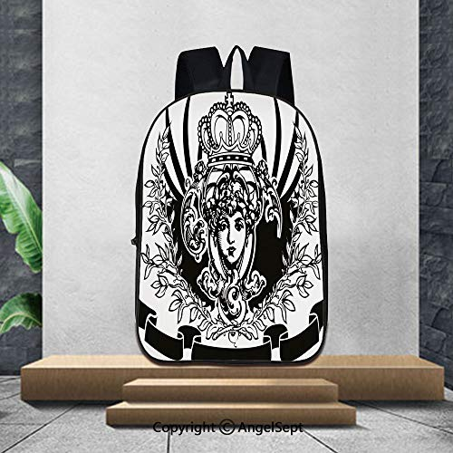 Printed Customized Casual Book Bag,QueenDecorative Vintage Ornate Banner with Woman Portrait Historical Heraldic Royal Decorative,16.5
