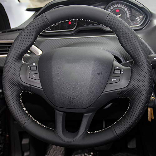 FANGPAN Leather Steering Wheel Cover,for Peugeot 208: Sports & Outdoors