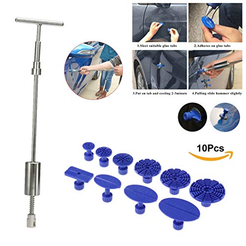 VTOLO Car Dent Repair Tools Dent Lifter Paintless Removal Kit PDR Puller Grip PRO Slide Hammer T-Bar Tool + 10pcs Glue Puller Tabs for Vehicle SUV Car Auto Body Hail Damage Remover