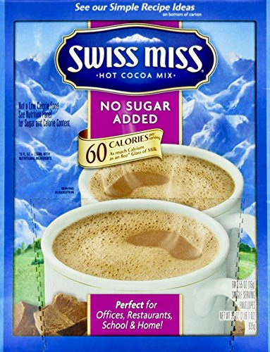 Swiss Miss Milk Chocolate No Sugar Added Not Sugar Free Premium Hot Cocoa Mix - 60-0.55oz Envelope Pack ()