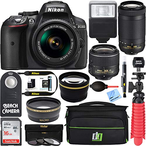 Nikon D5300 24.2 MP DSLR Camera + AF-P DX 18-55mm & 70-300mm NIKKOR Zoom Lens Kit + 64GB Memory Bundle + Photo Bag + Wide Angle Lens + 2X Telephoto Lens + Flash + Remote +Tripod+Filters (Black)
