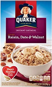 Quaker Instant Oatmeal, Raisin, Date & Walnut, Breakfast Cereal, 10 Packets Per Box (Pack of 4)