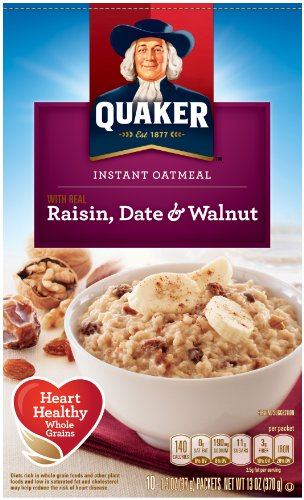 Quaker Instant Oatmeal, Raisin, Date & Walnut, Breakfast Cereal, 10 Packets Quaker Raisins