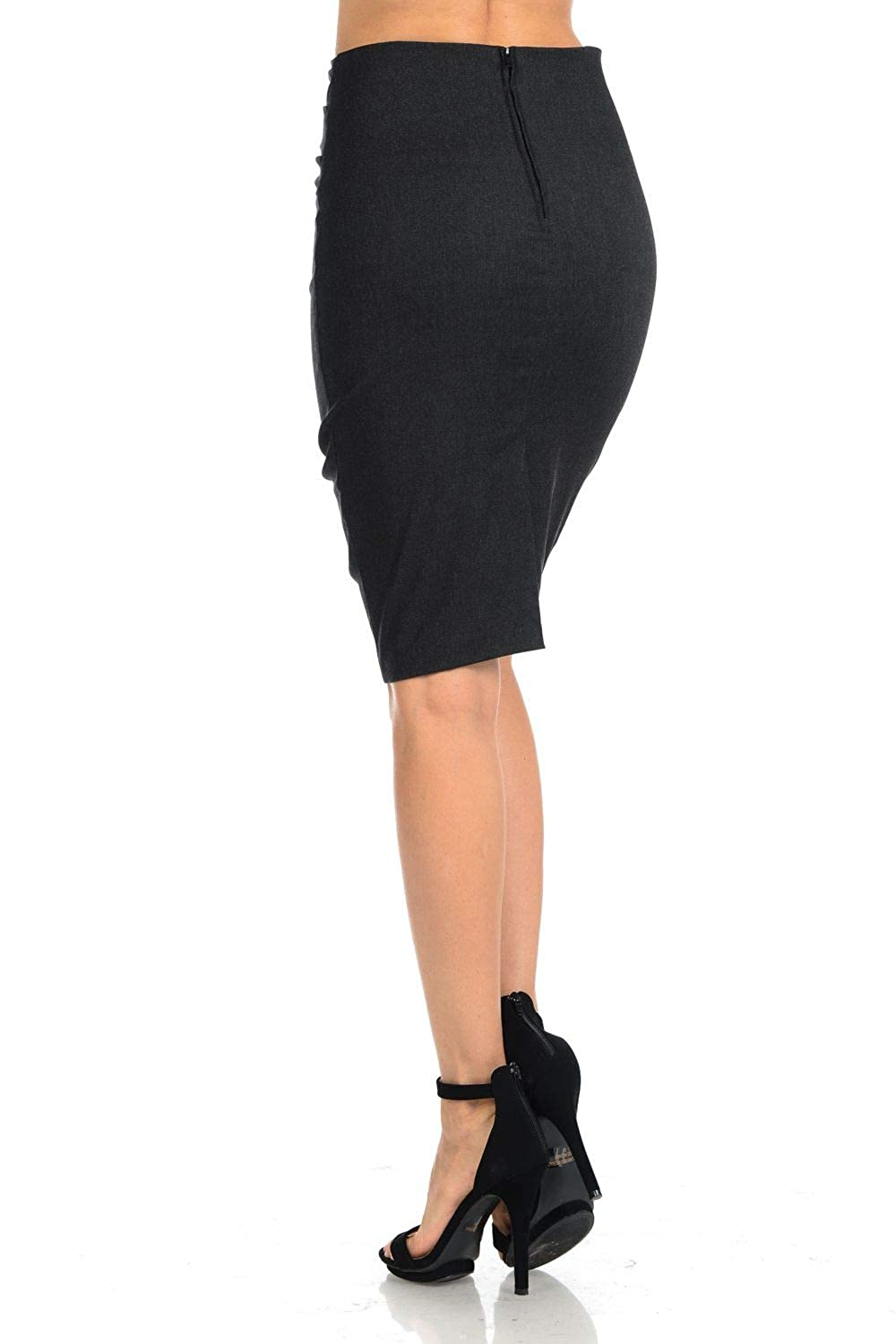 Aulin/é Collection Womens High Waisted Stretchy Slit Bodycon Pencil Skirt