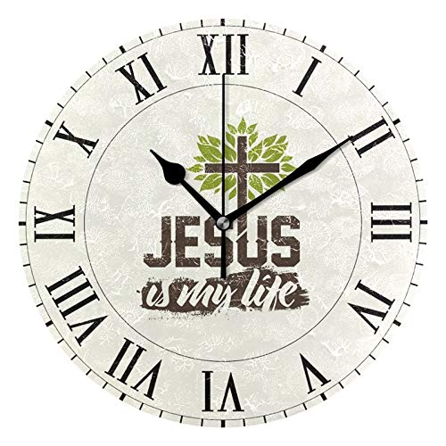 (ALAZA Vintage Christian Cross Round Acrylic Wall Clock, Silent Non Ticking Oil Painting Home Office School Decorative Clock)