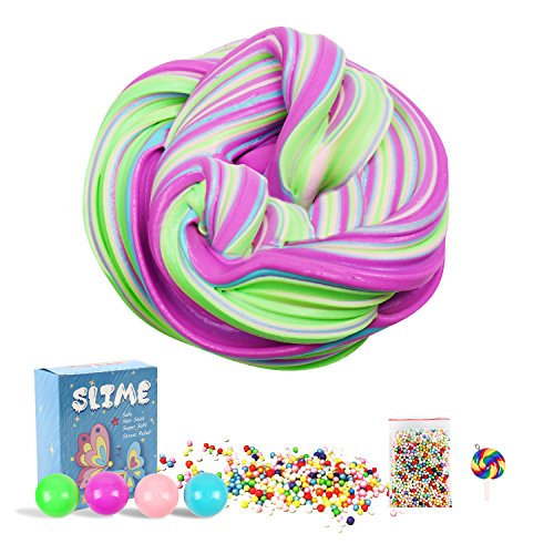 Fantastic Spinner Kit - Toysoph Premium Fluffy Slime Kit – 7 Oz Stress Relief Faint-Candy Scent Sludge – Blue Pink Purple Green